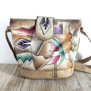 Painted Leather Bag Vintage Wearable Art Crossbody